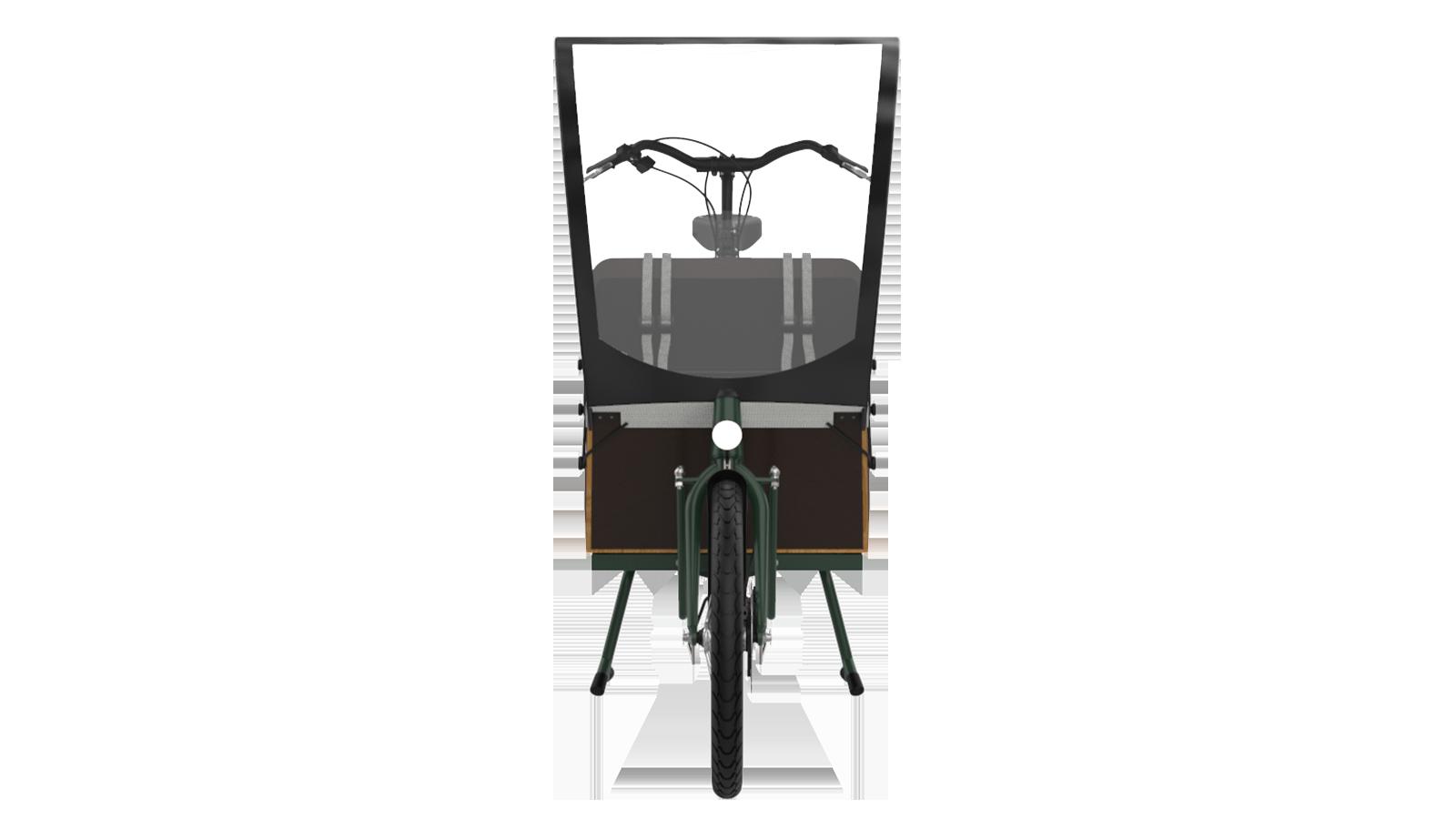 Bakfiets Lång framsidan med regnskydd och Shimano Motor